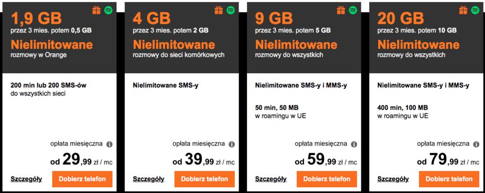 """У Orange их четыре, все 2-годичные. Цены и условия можете видеть на скриншоте, не будем вдаваться в подробности (единственое - обратите внимание, что пакет трафика через 3 месяца """"худеет"""" в два раза). Опять же в оферте достаточно телефонов, включая новейшие дорогие модели."""